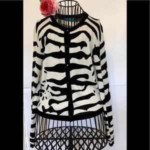 Alice + Olivia wool zebra cardigan xs